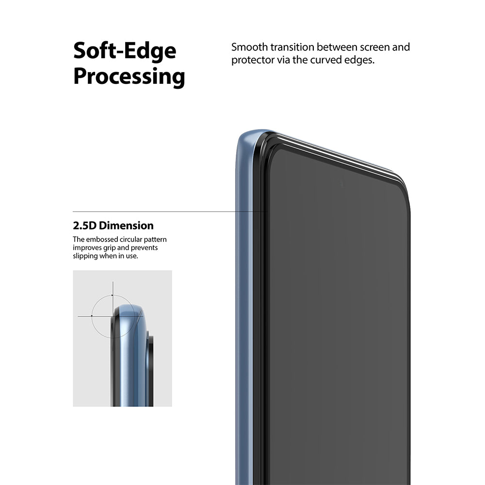 soft edge processing - smooth transition between the screen and the protector via the curved edges