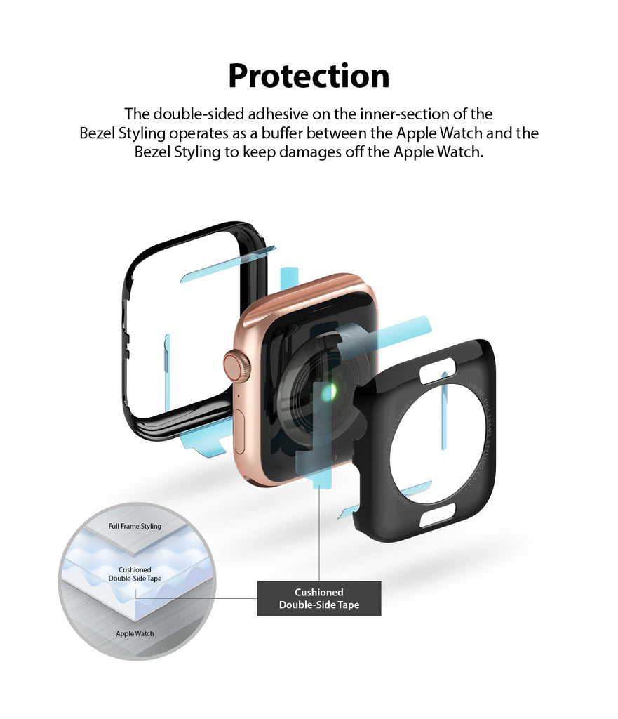 the double sided adhesive on the inner section of the bezel styling operates as a buffer between the apple watch and the bezel styling to keep damages off the watch