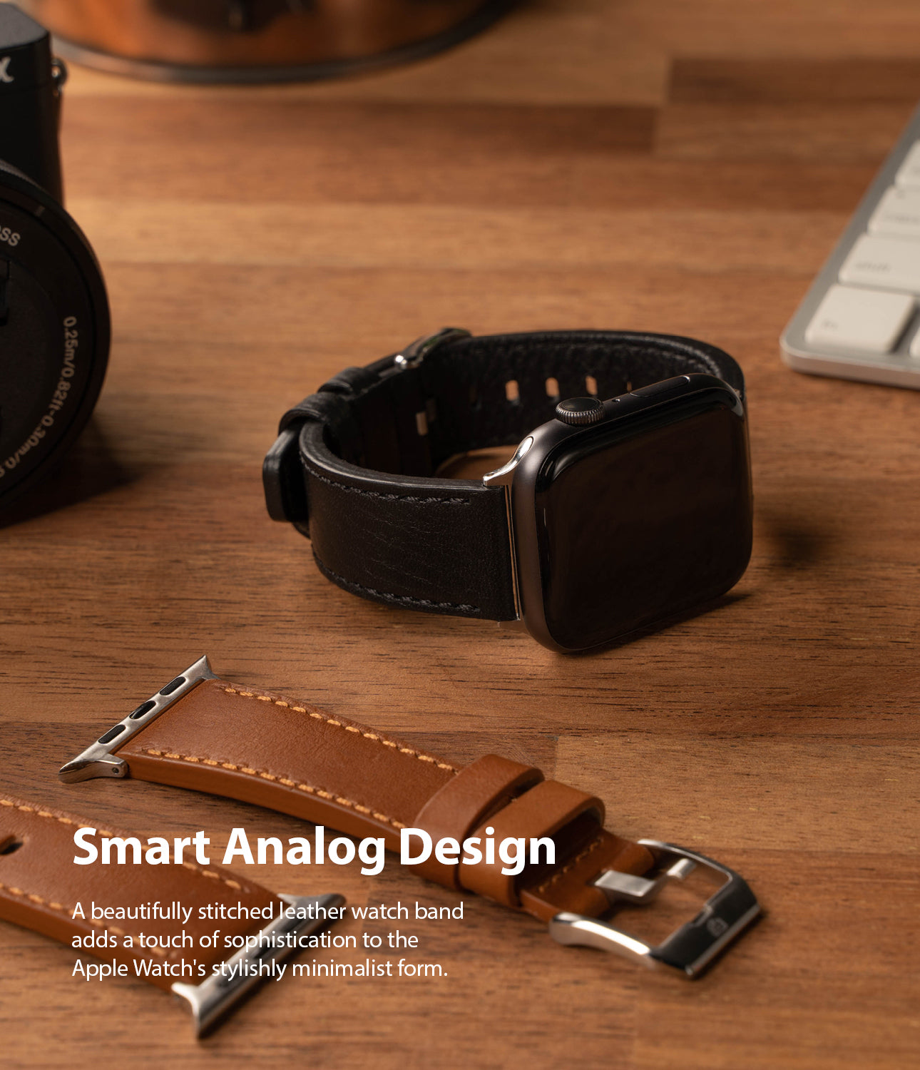 smart analog design - stitched leather watch band
