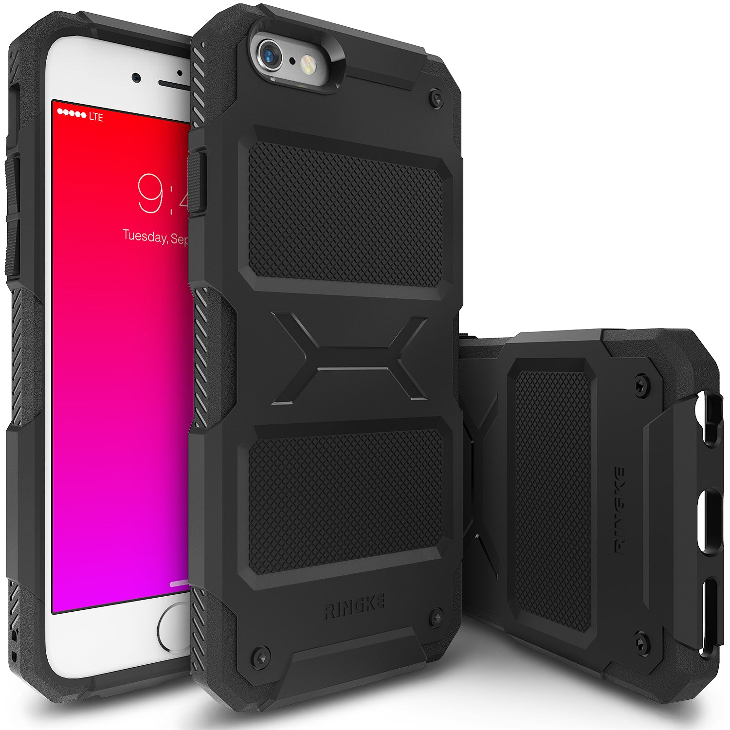 ringke rebel rugged heavy duty protective case cover for iphone 6 plus 6s plus main black