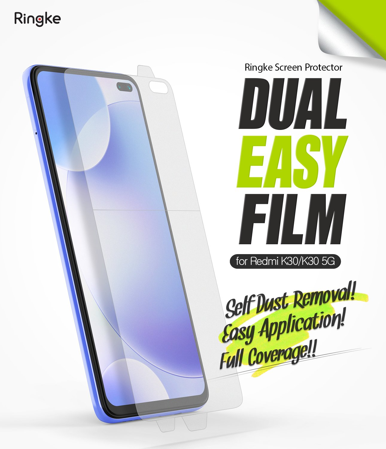 Xiaomi Redmi K30 [Dual Easy Full Cover] Screen Protector [2 Pack]