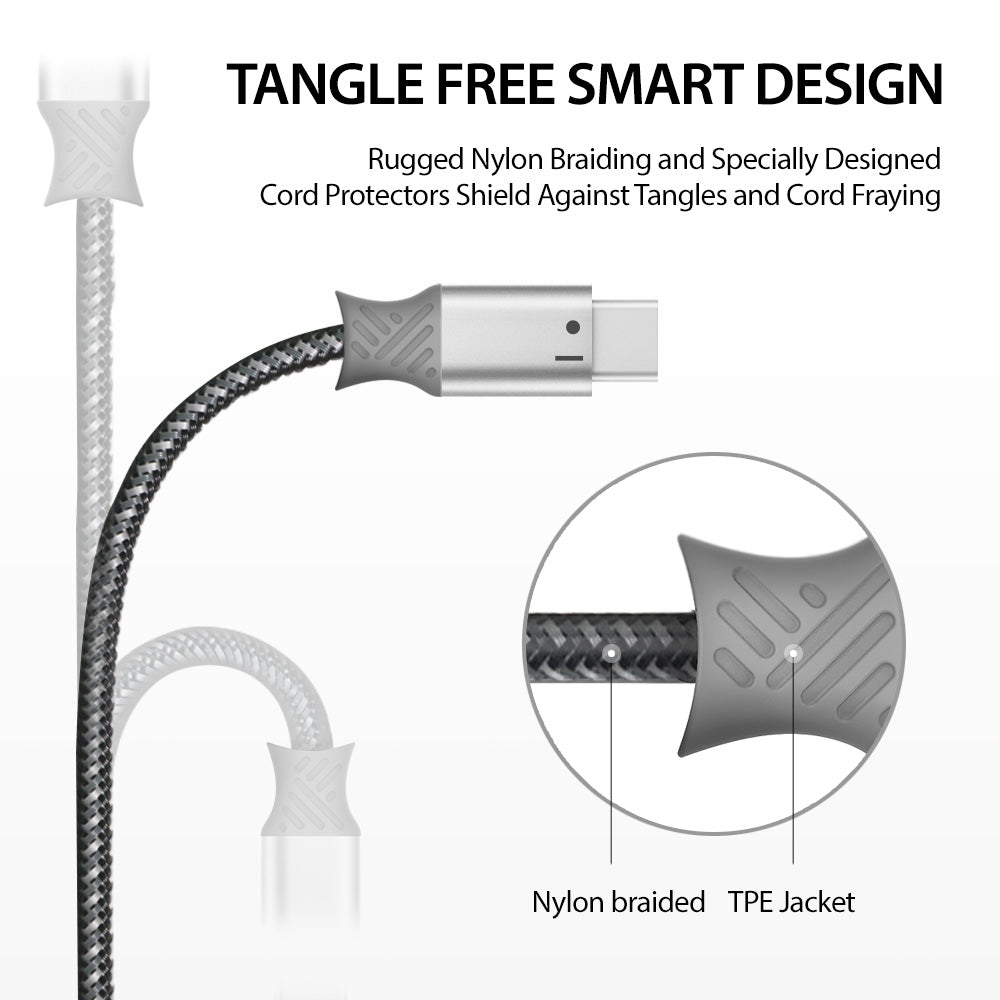tangle free smart design rugged nylon braiding and specially designed cord protector