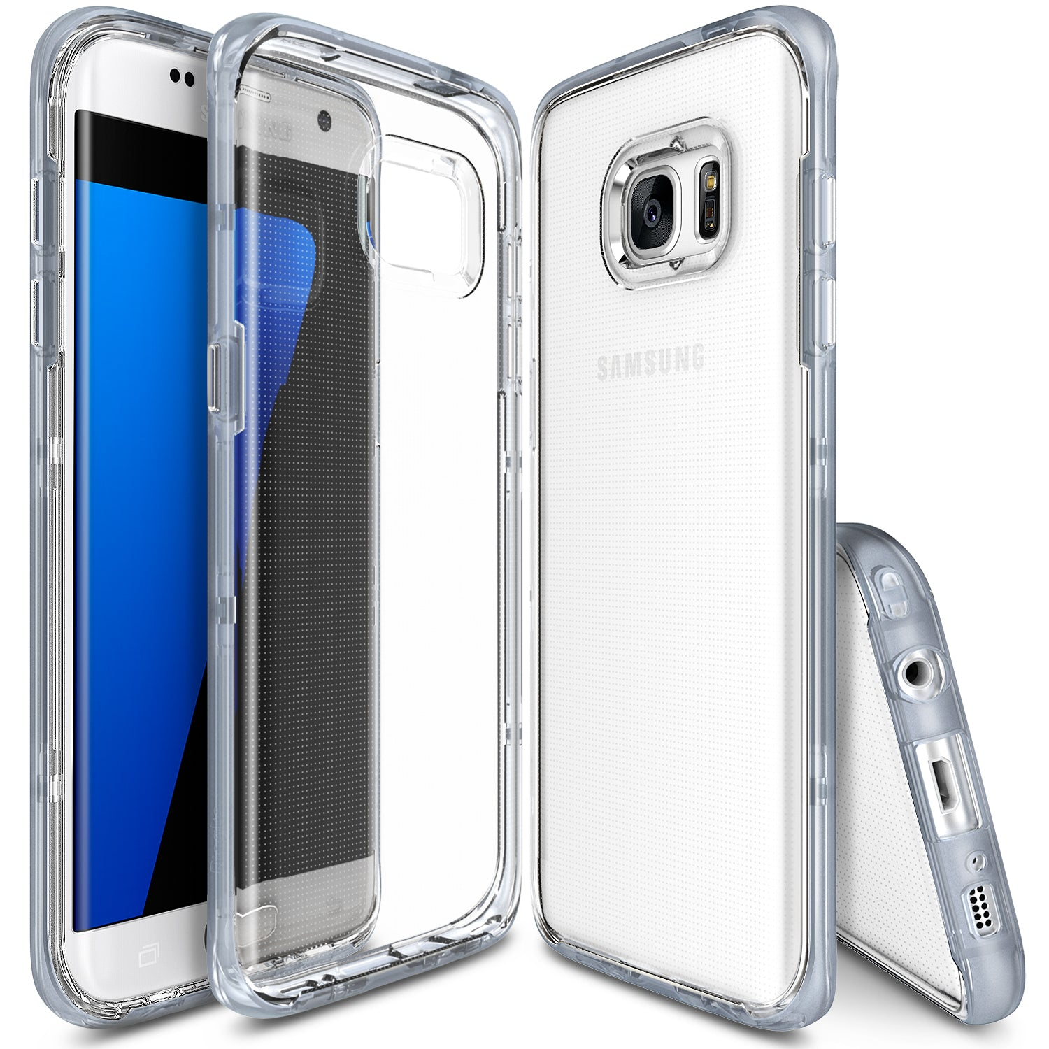 ringke frame clear back advanced bumper protection cover case for galaxy s7 edge frost gray