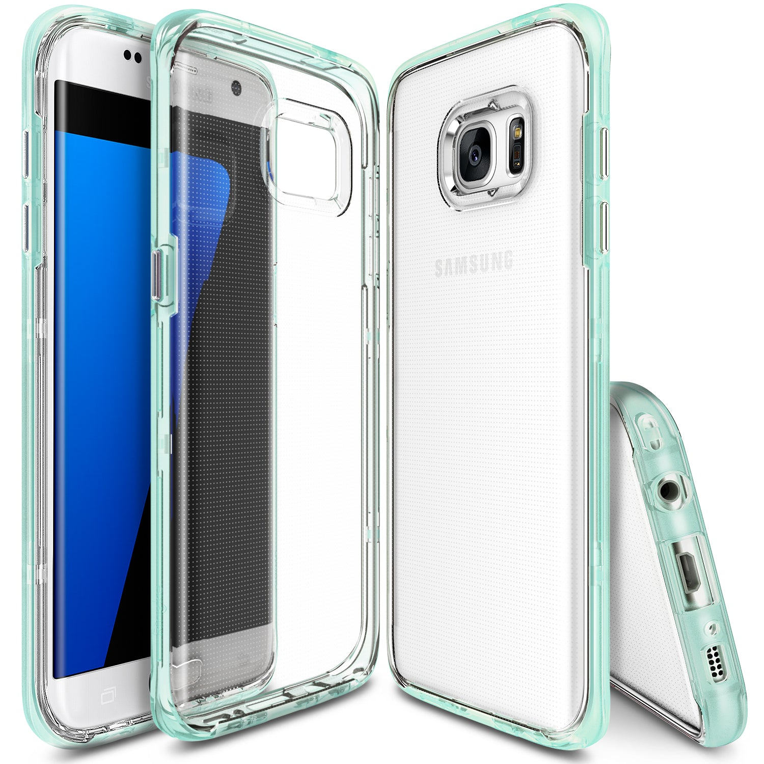 ringke frame clear back advanced bumper protection cover case for galaxy s7 edge frost mint
