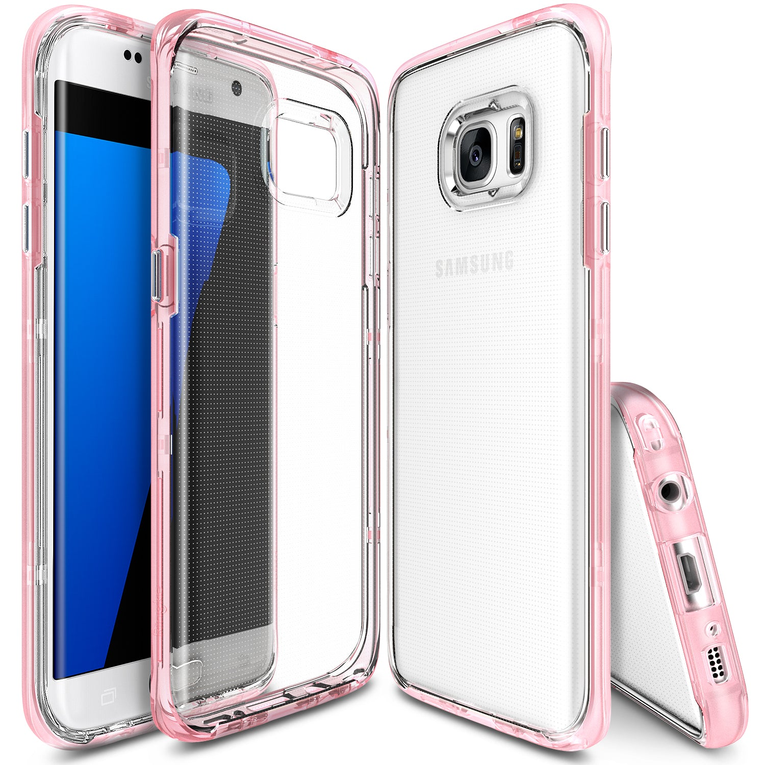 ringke frame clear back advanced bumper protection cover case for galaxy s7 edge frost pink