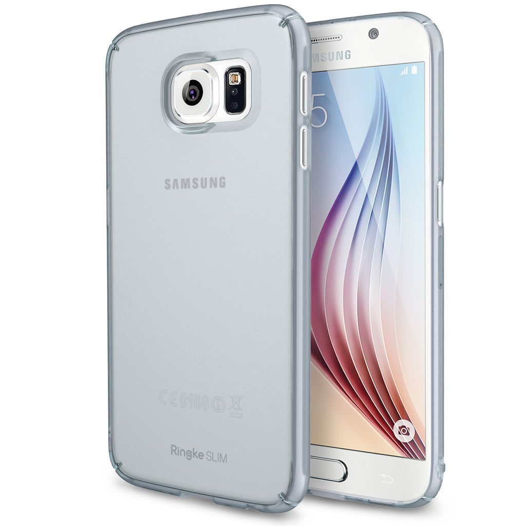 ringke slim premium hard pc protective back cover case for galaxy s6 frost gray