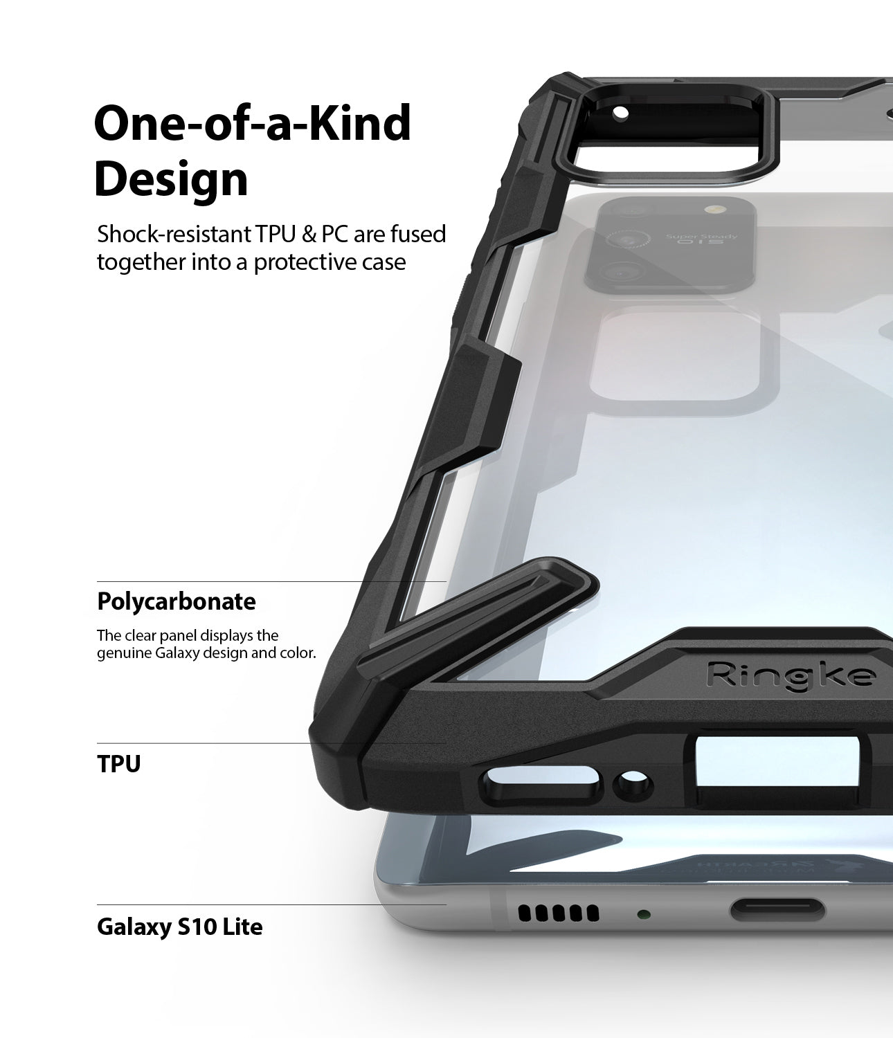 Ringke Fusion-X Case for Galaxy S10 Lite, Black, One-of-a-kind-design, Polycarbonate