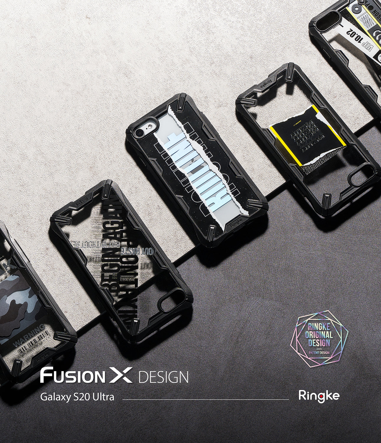 samsung galaxy s20 ultra case - ringke fusion x design 01 ticket band black