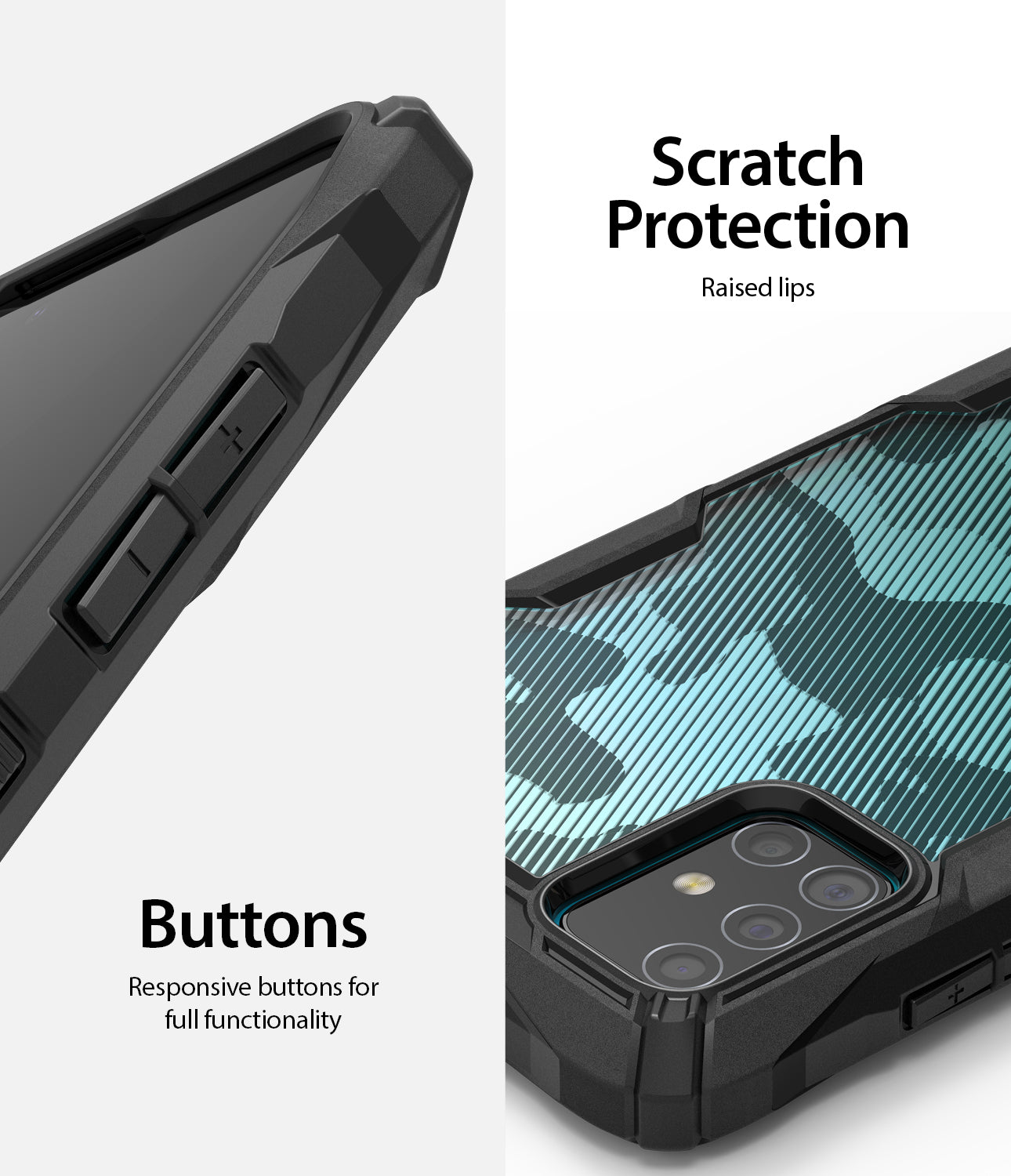 scratch protection raised lip, responsive buttons for full functionality