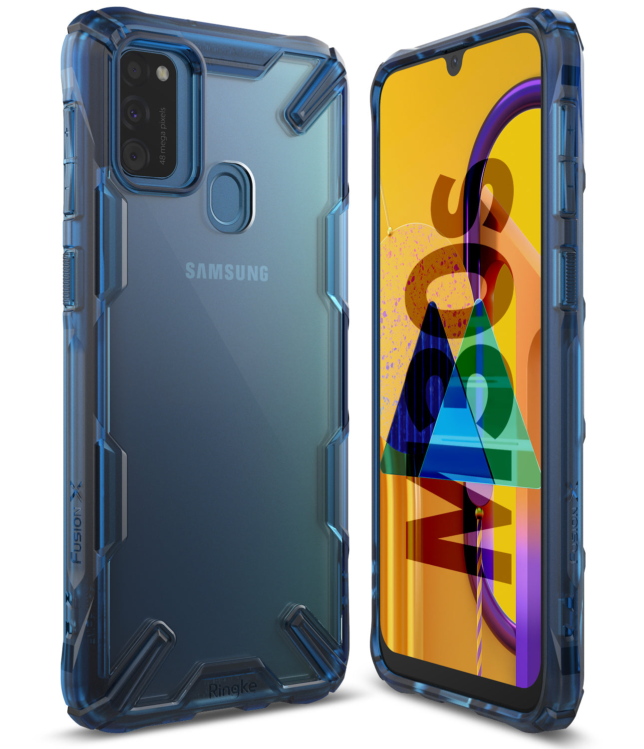 ringke fusion-x case designed for samsung galaxy m30s - space blue