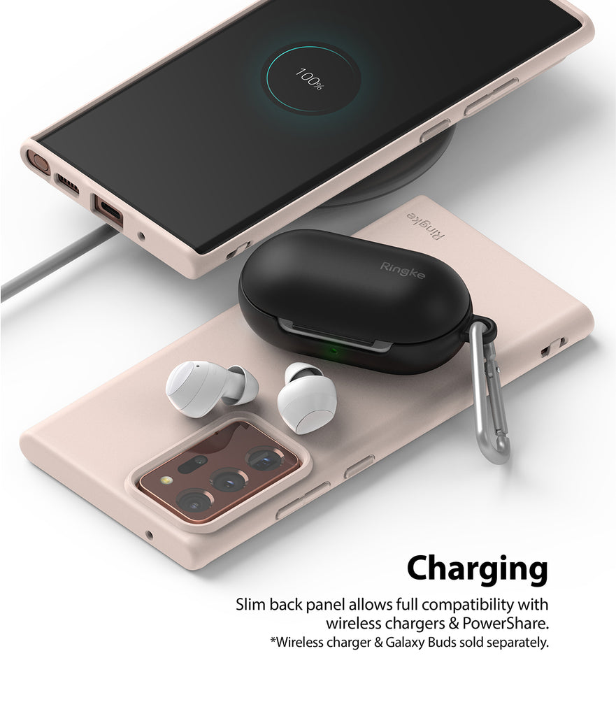 slim back panel allows full compatibility with wireless chargers and powershare
