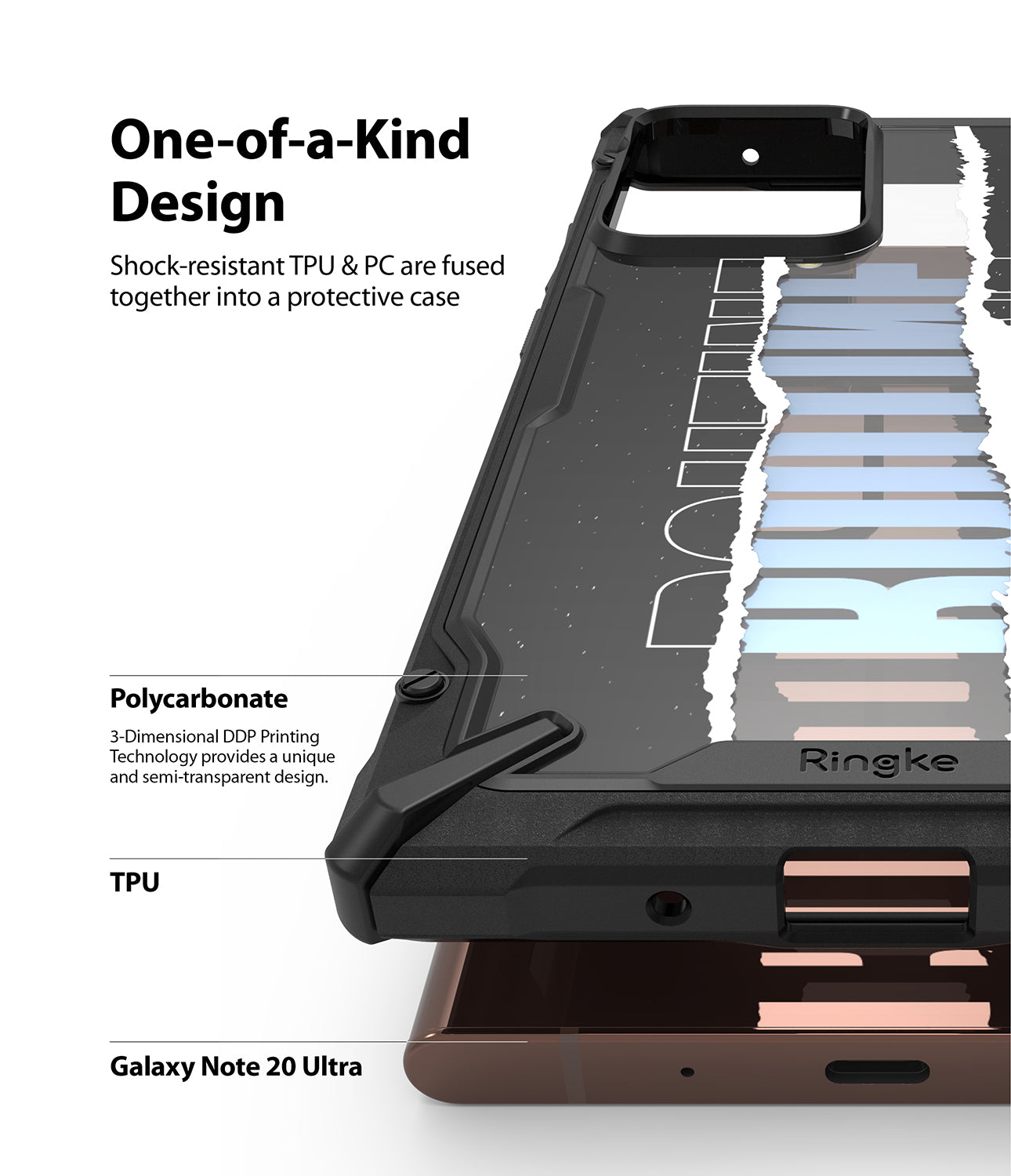 shock resistant TPU and PC are fused together into a protective case