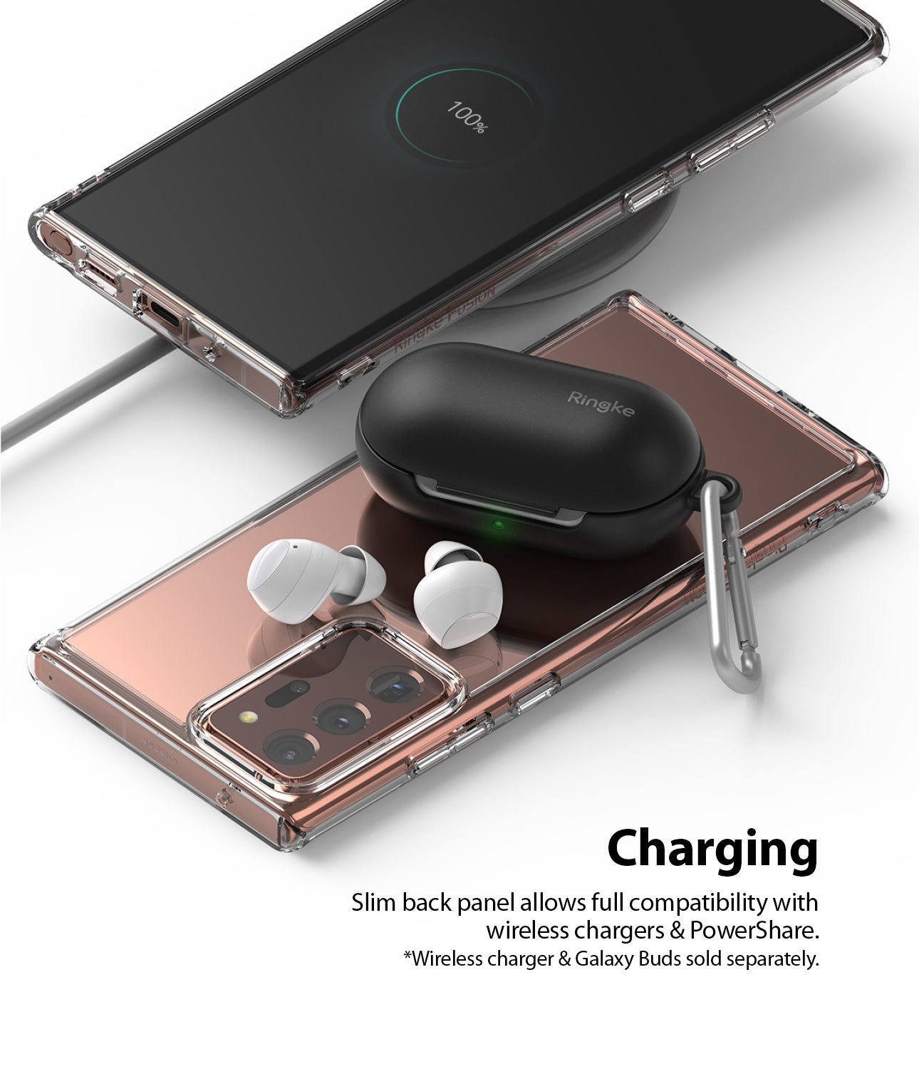 slim back panel allows full compatibility with wireless charger & powershare