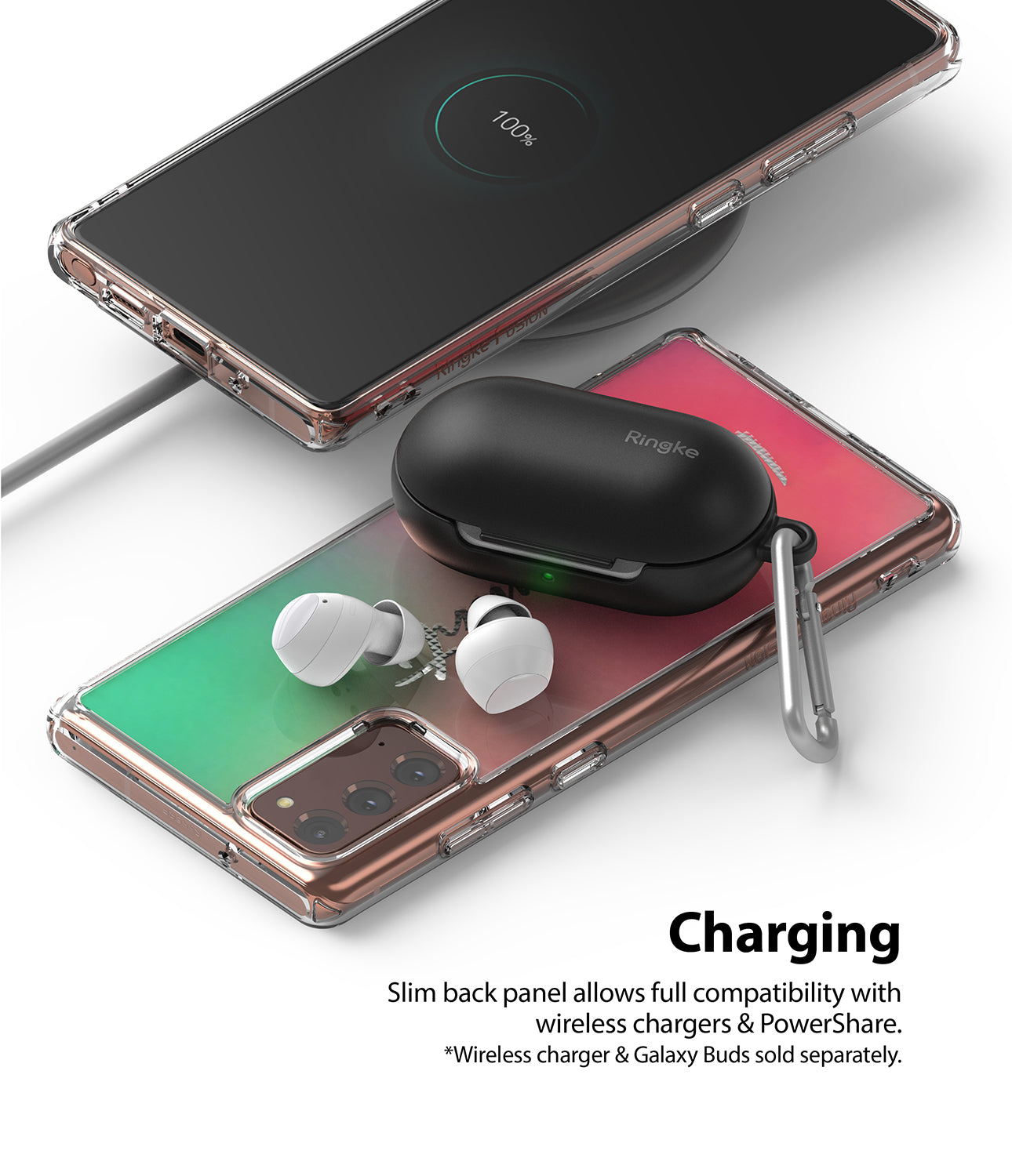 slim back panel allows full compatibility with wireless chargers & powershare