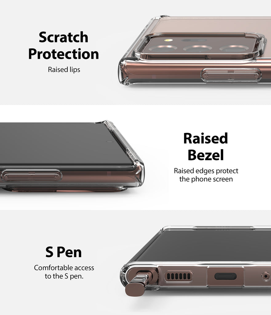 scratch protection with raised lips and bezel / comfortable access to s pen
