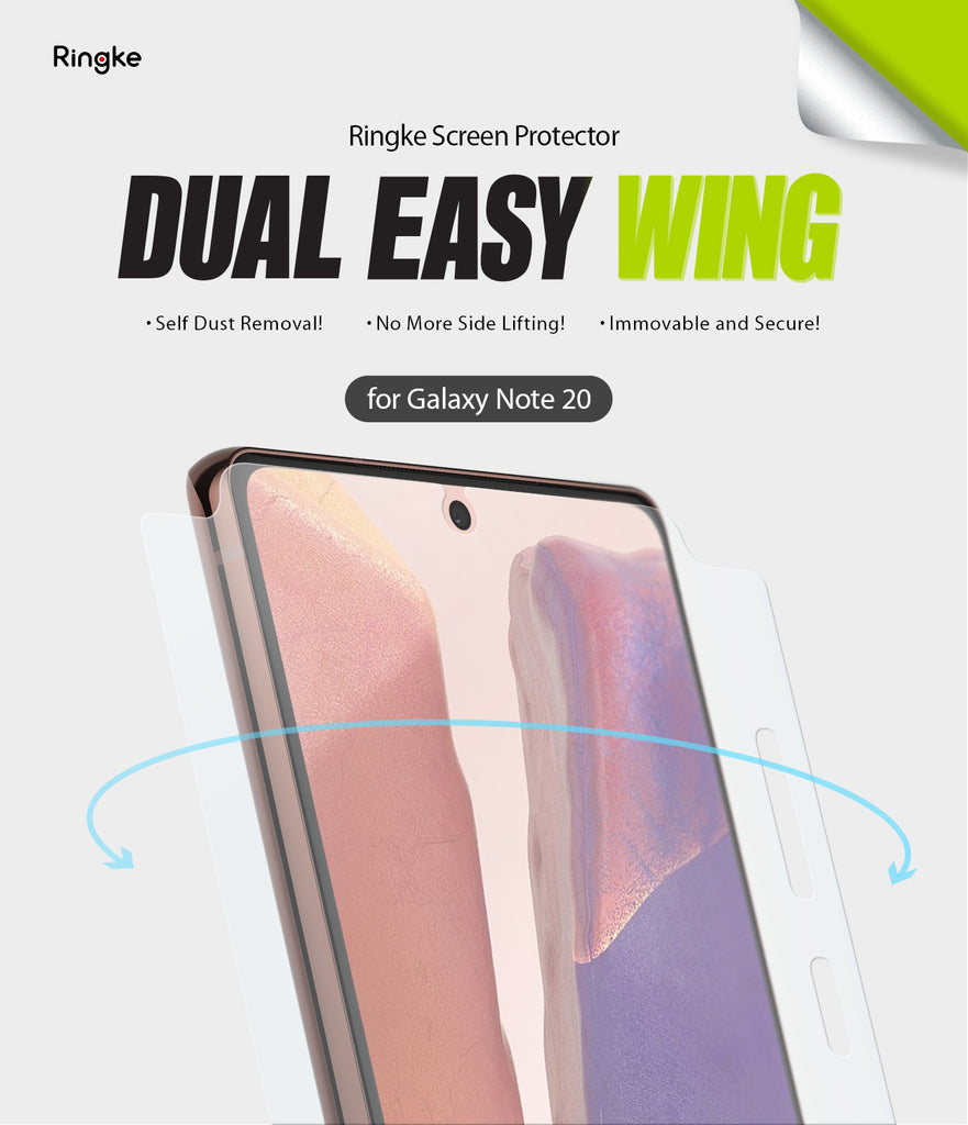 samsung galaxy note 20 screen protector - ringke dual easy film wing