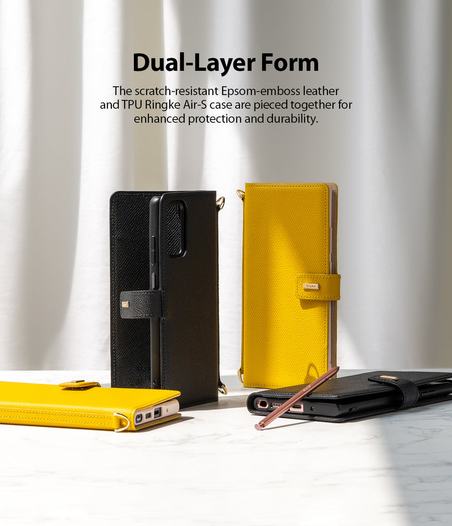 dual-layer form - the scratch-resistant Epsom-emboss leather and TPU ringek Air-S case are pieced together for enhanced protection and durability