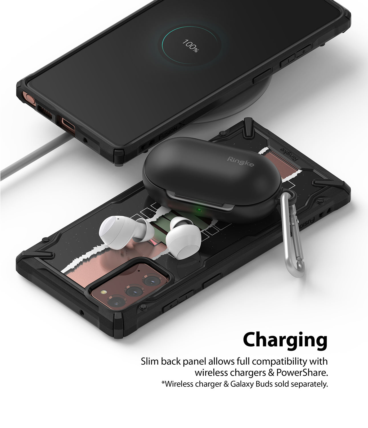 slim back panel allows full compatibility with wireless charging & powershare