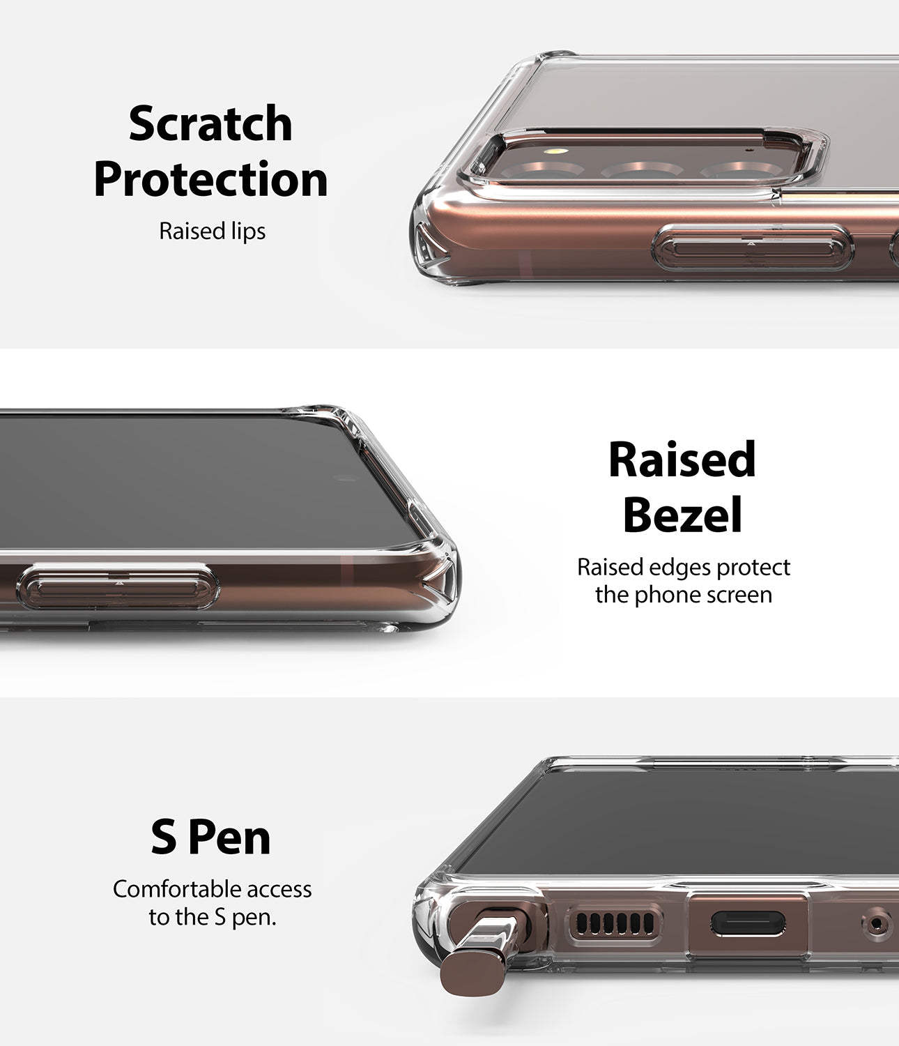scratch protection with raised lips and bezel / comfortable access to the s pen