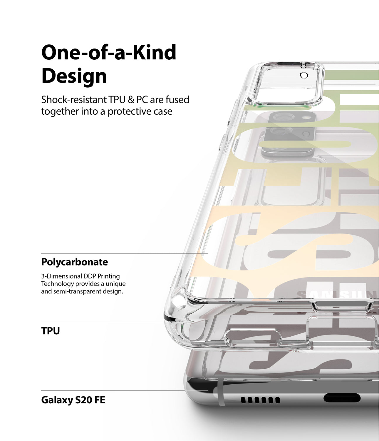 shock-resistant tpu and pc are fused together into a protective case