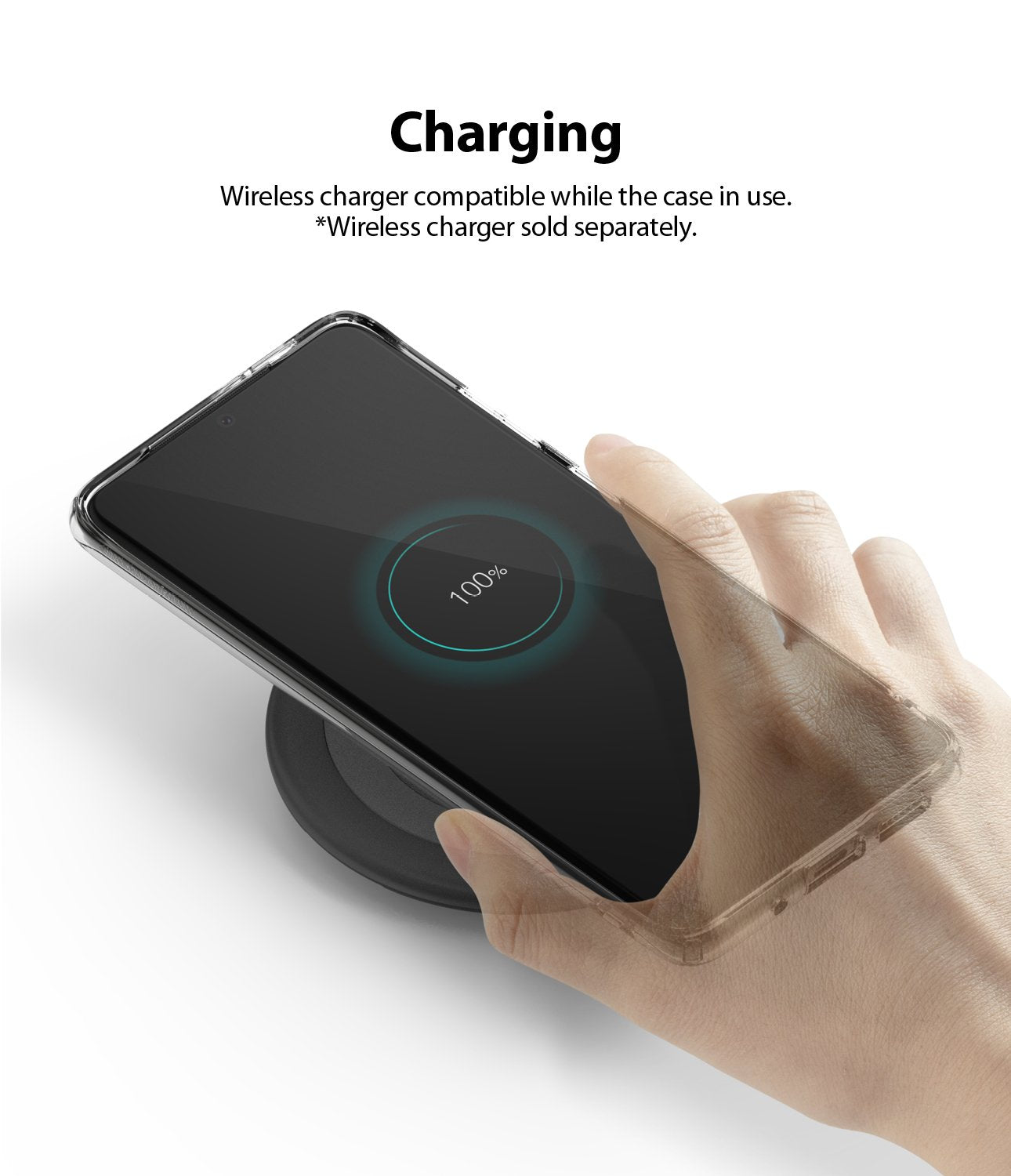 Ringke Galaxy S20 plus Case Air Clear, Smoke Black, wireless charging compatible