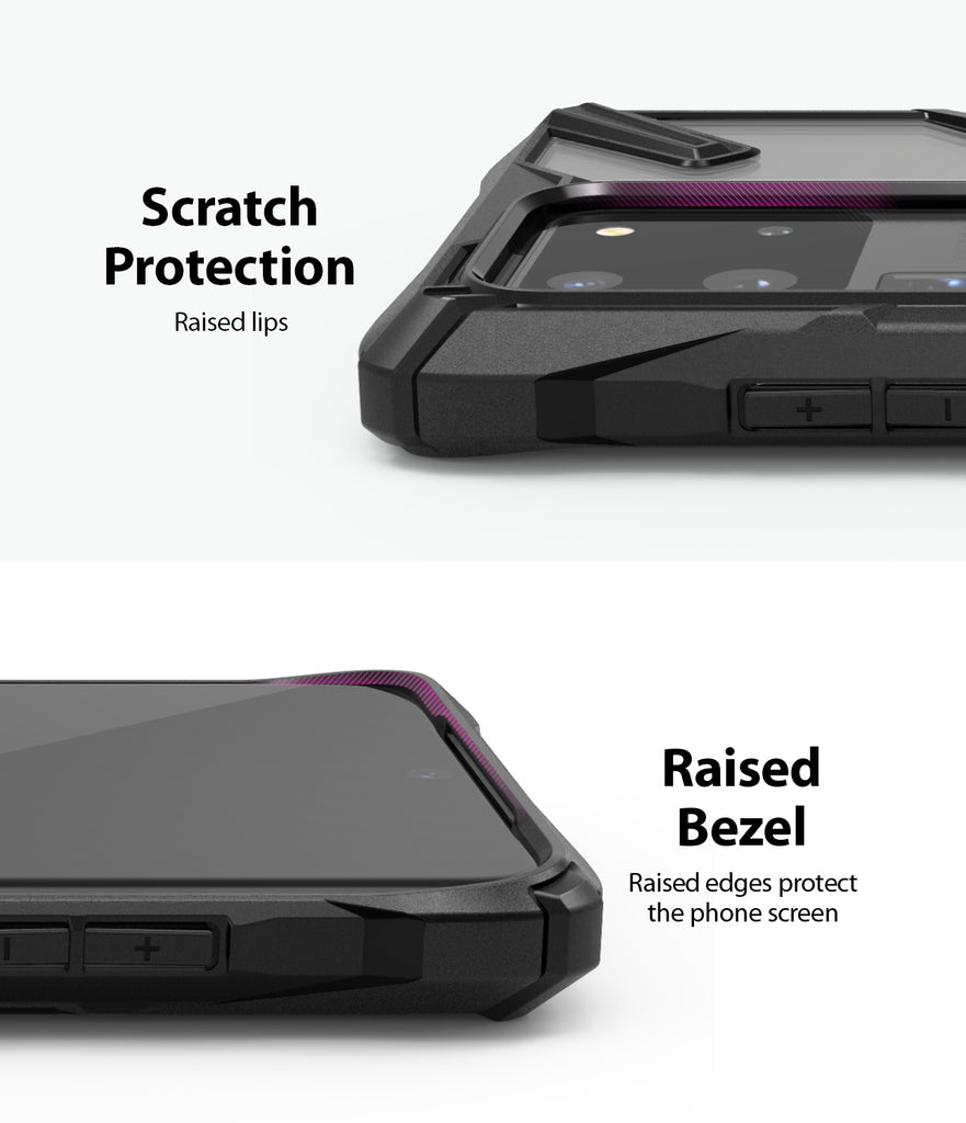 Ringke Fusion-X case for Samsung Galaxy S20 Ultra Black Color, scratch protection, raised bezel