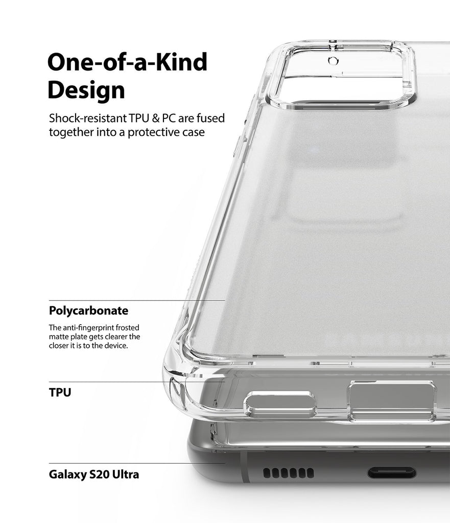ringke Galaxy S20 Ultra Case Fusion case, No-Smudge Matte, frost clear, one-of-kind design