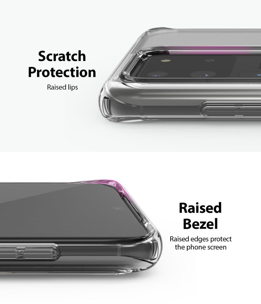 ringke Galaxy S20 Ultra Case Fusion case, No-Smudge Matte, frost clear, camera protection, raised bezel, scratch protection
