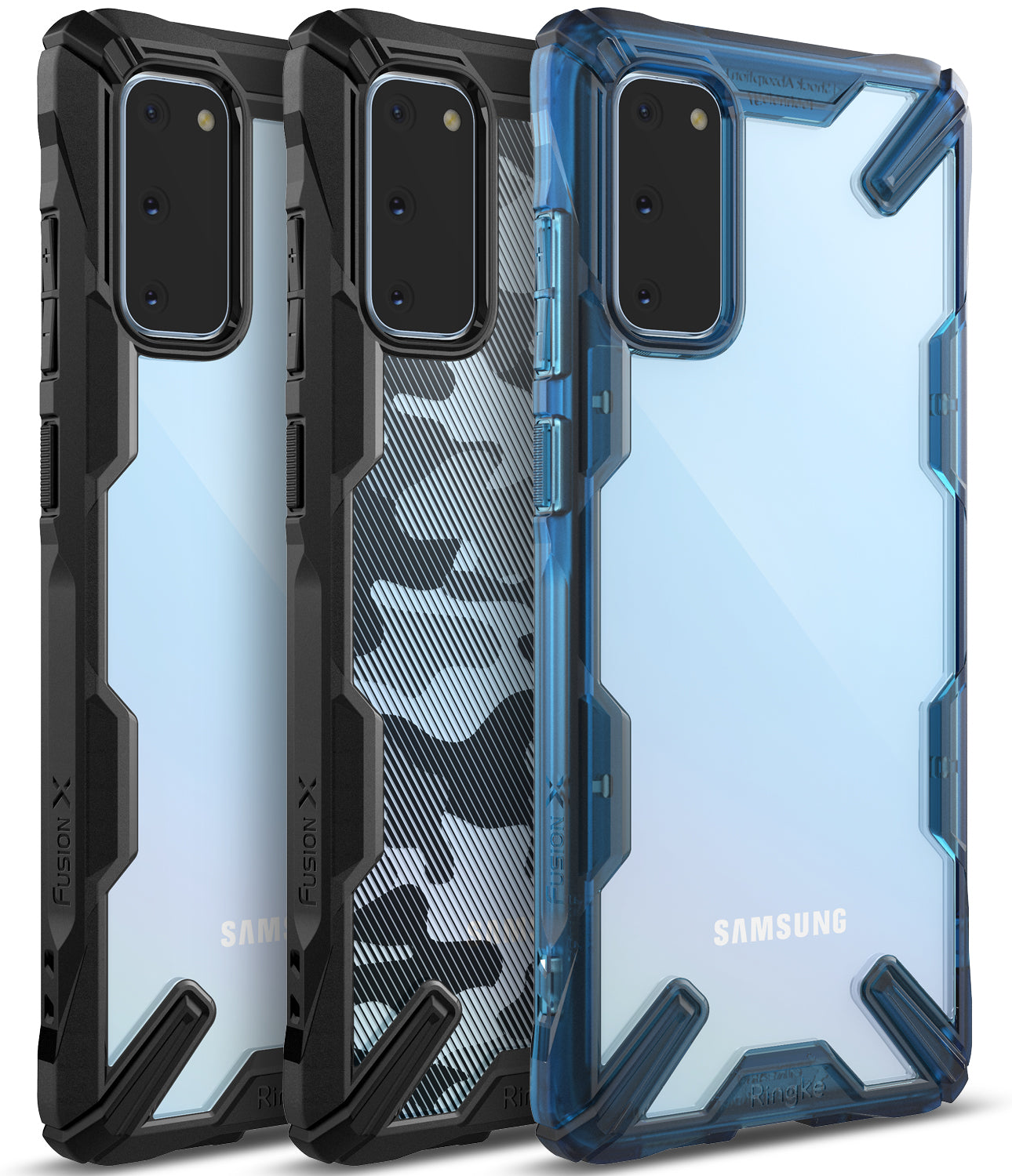 Ringke Galaxy S20 Fusion-X Case Black, Camo Black, Space Blue Colors