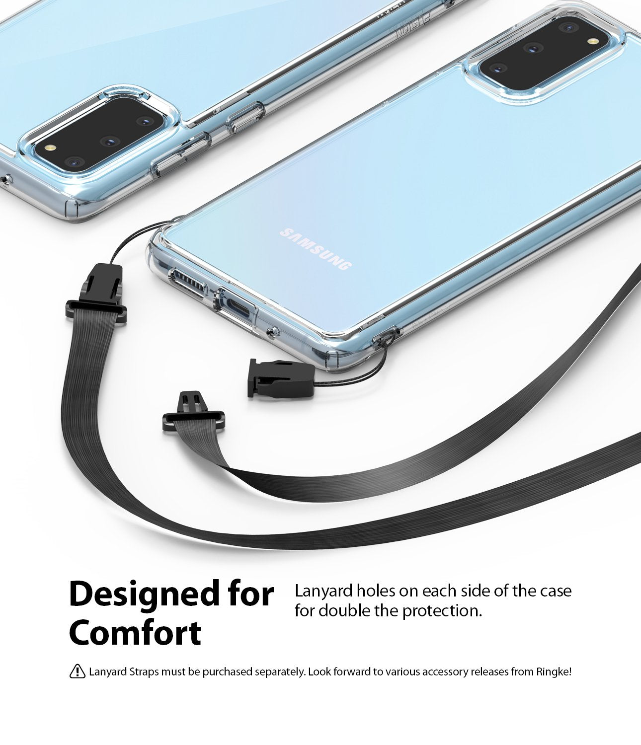 Ringke Fusion case for Samsung Galaxy S20 5g, lanyard holes, designed for comfort