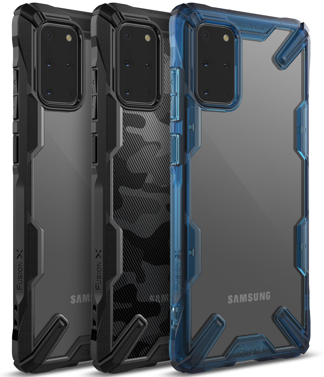 Ringke Galaxy S20 Plus Fusion-X Case Camo Black Black Space Blue Colors