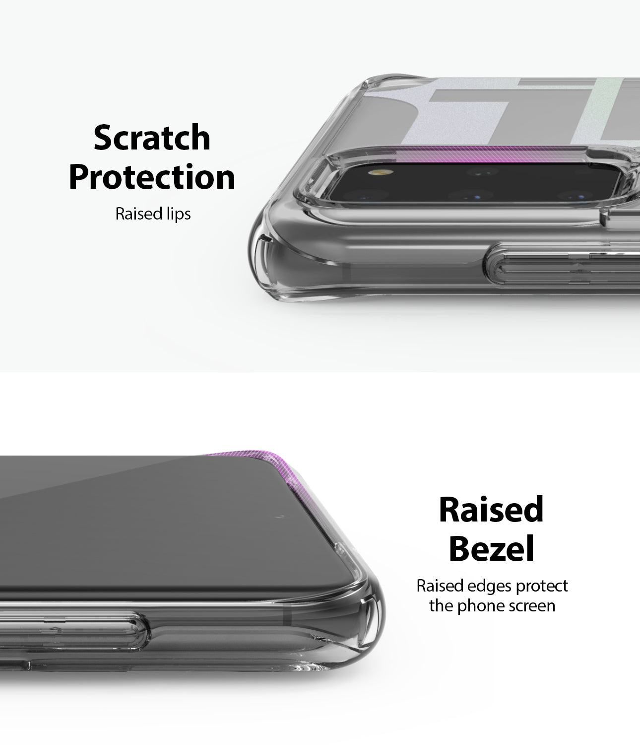 scratch protection with raised lips, raised bezel and edges protect the front screen and rear camera