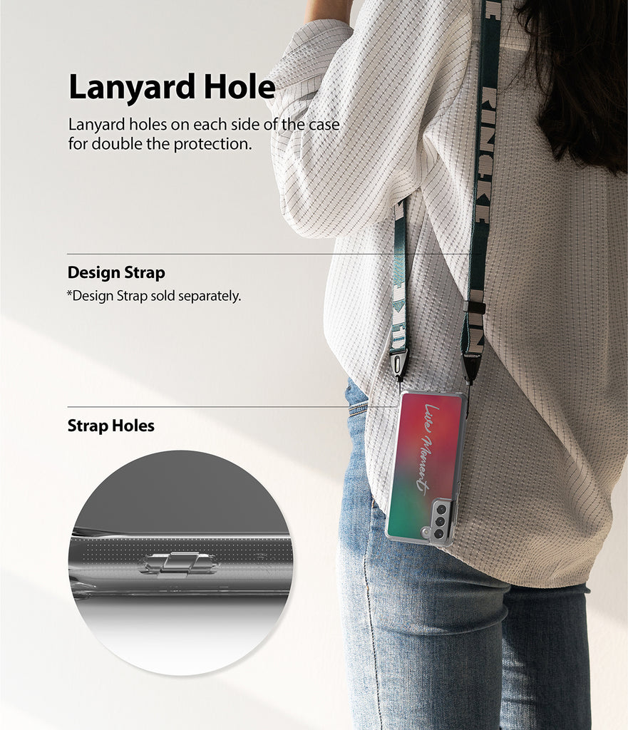 lanyard holes available on both sides of the case to attach accessories