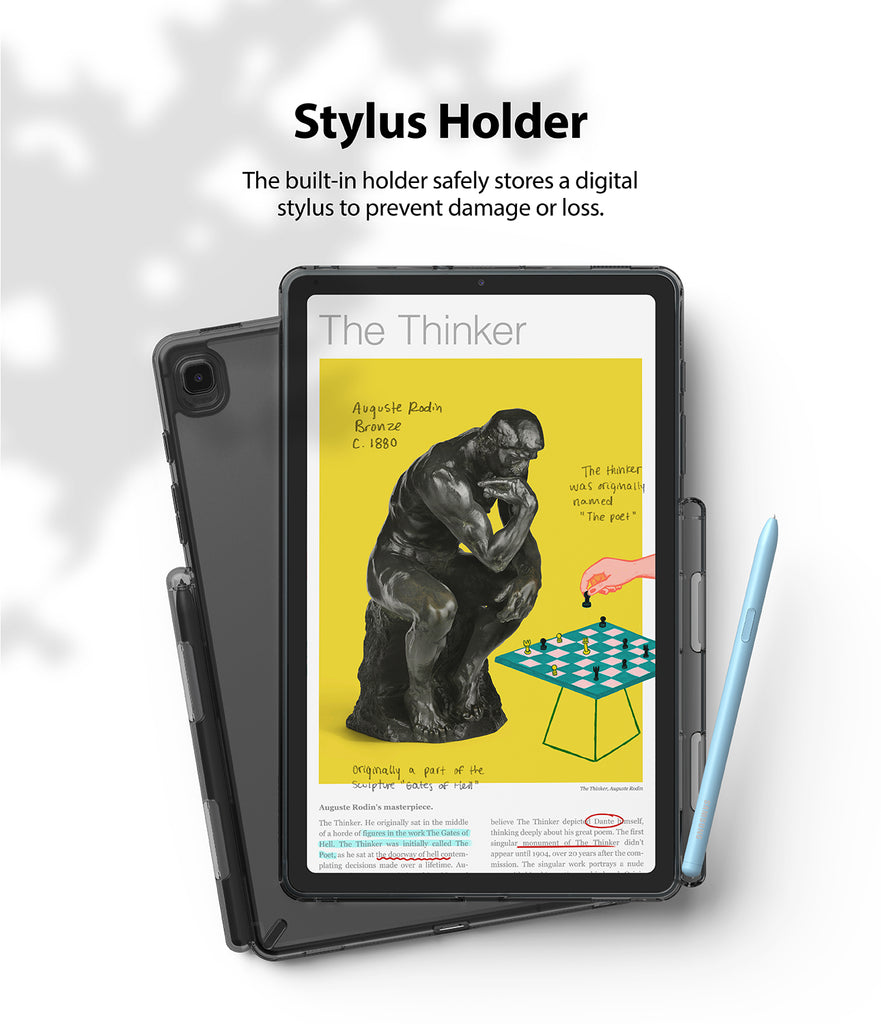 the built in stylus holder