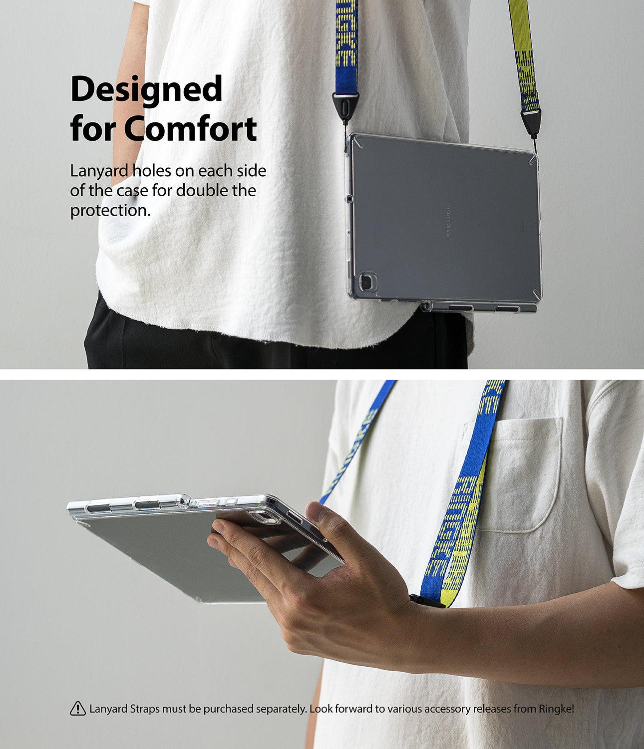 designed for comfort - lanyard holes on each side of the case for double the protection