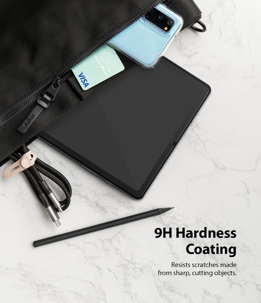 9h hardness coating to resist scratches from sharp, cutting objects