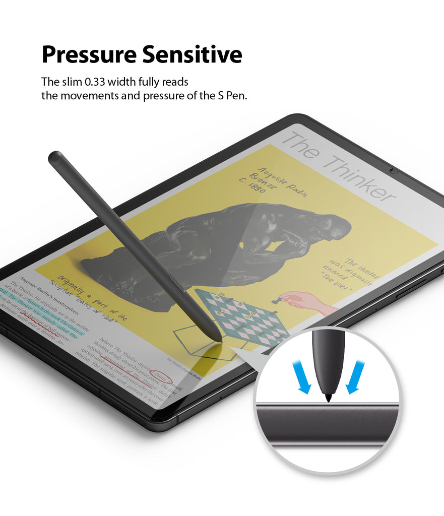pressure sensitive - the slim 0.33mm width fully reads the movements and pressure of the s pen