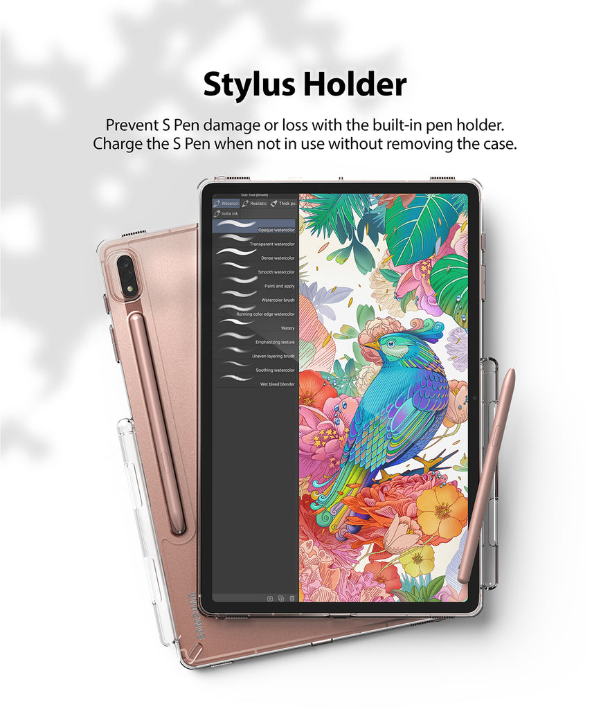 prevent s pen damage or loss with built in pen holder. charge the s pen when not in use without removing the case
