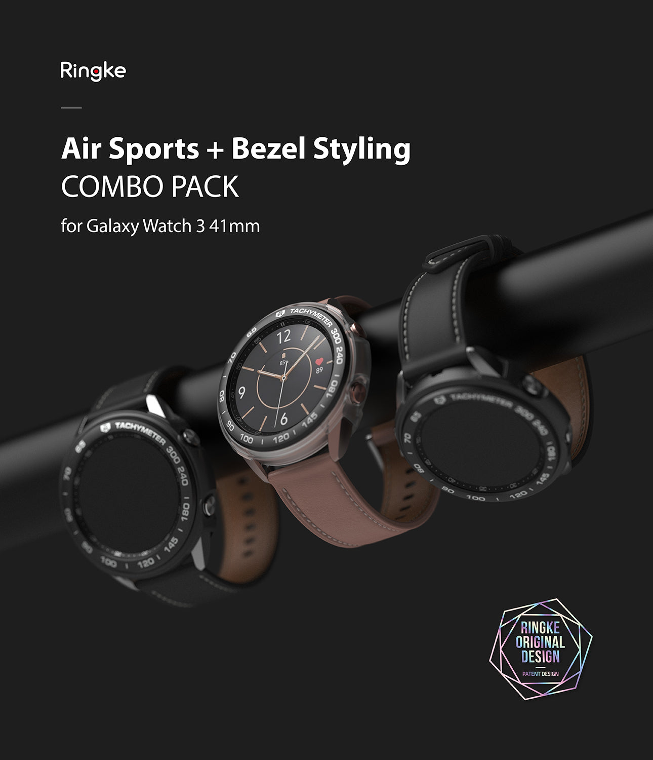 ringke air sports + bezel styling combo pack for samsung galaxy watch 3 41mm - black + 10