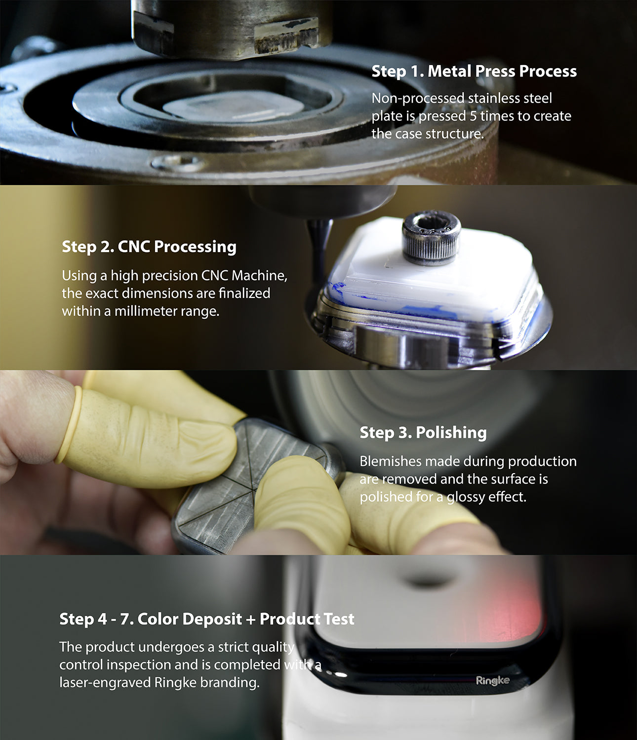 metal press process / cnc processing / polishing / color deposit and product test