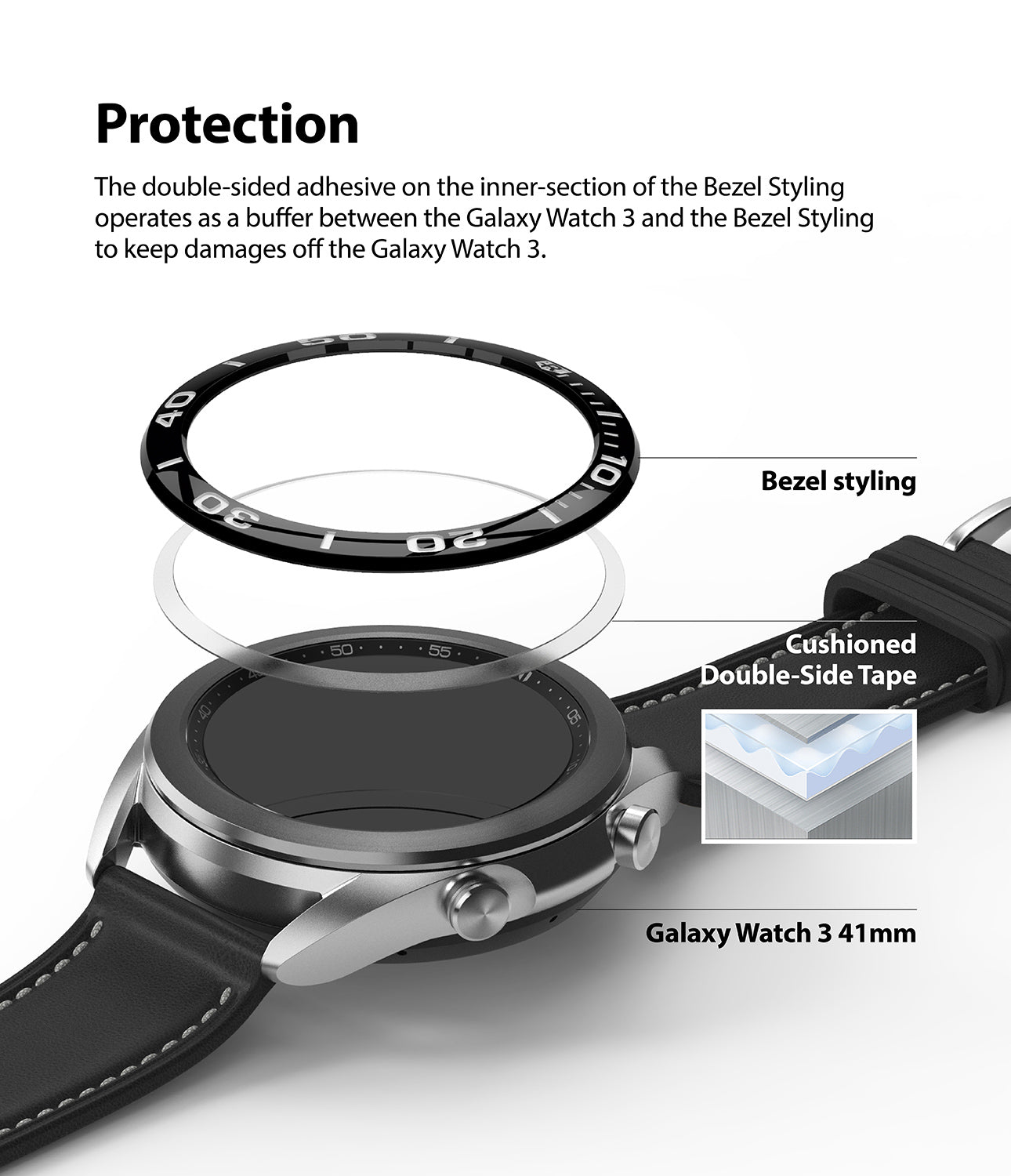 the double sided adhesive on the inner section of the bezel styling operates as a buffer between the galaxy watch 3 and the bezel styling to keep damages off the galaxy watch