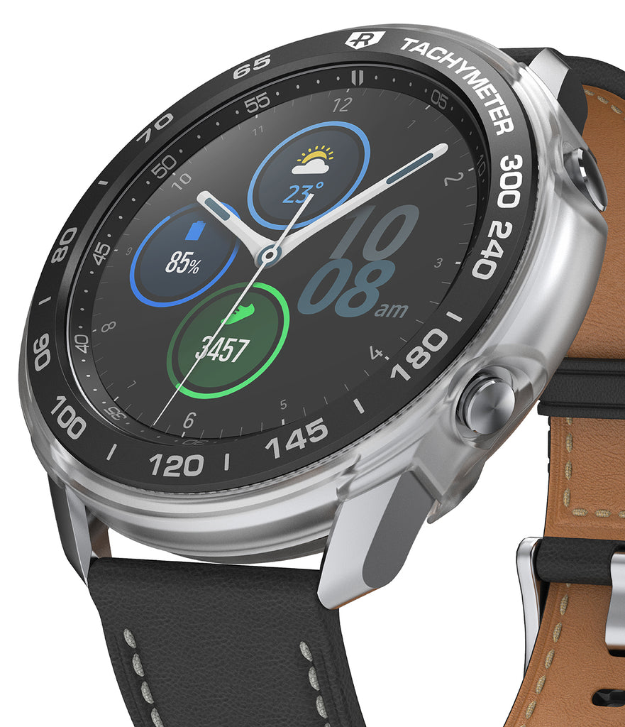 ringke air sports + bezel styling combo pack for samsung galaxy watch 3 45mm - matte clear + 10