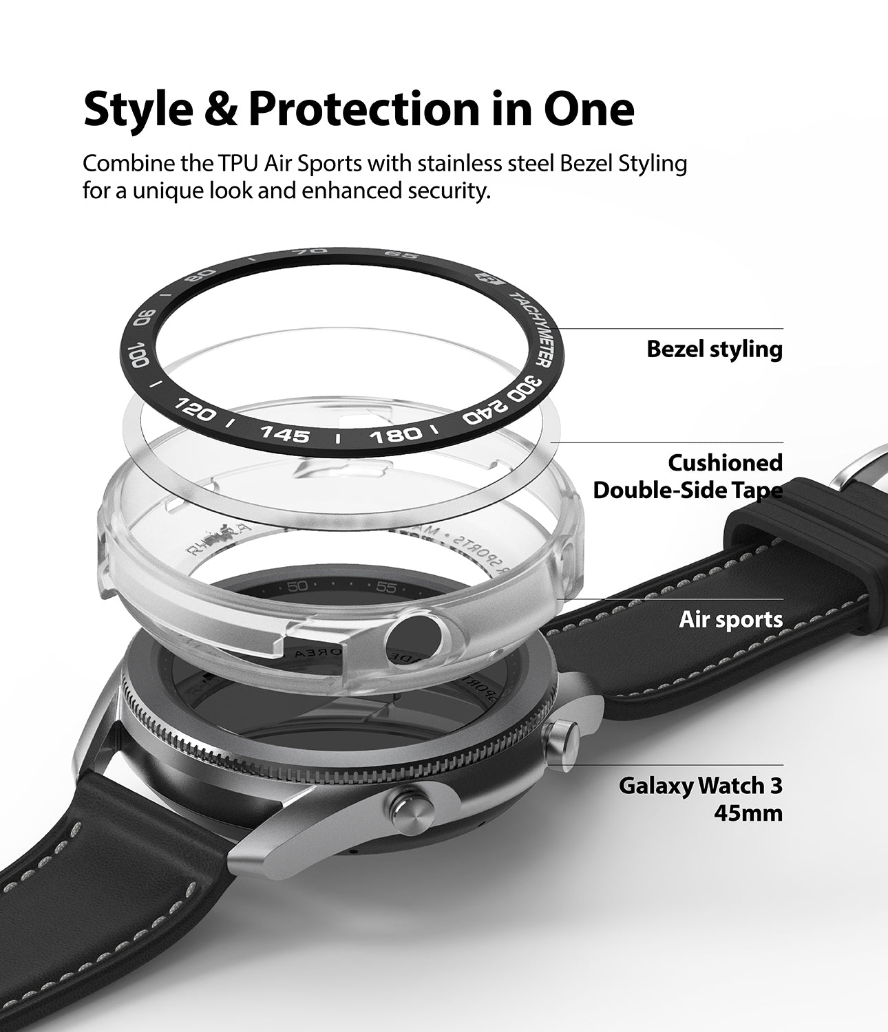 combine the TPU and Air Sports with stainless steel Bezel Styling for a unique look and enhance security
