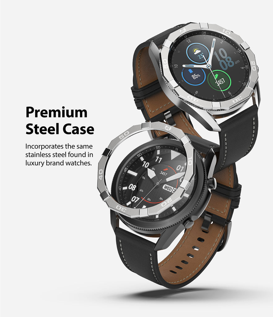 premium steel case - incorporates the same stainless steel found in luxury watch brands