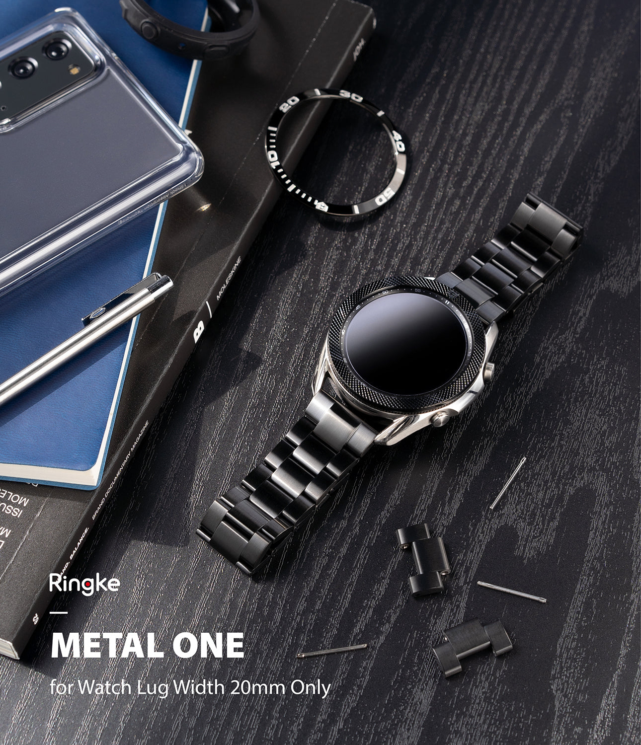 ringke metal one band black for watch lug 20mm