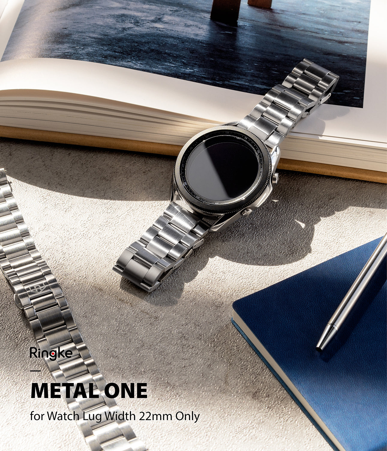ringke metal one band black for watch lug 22mm