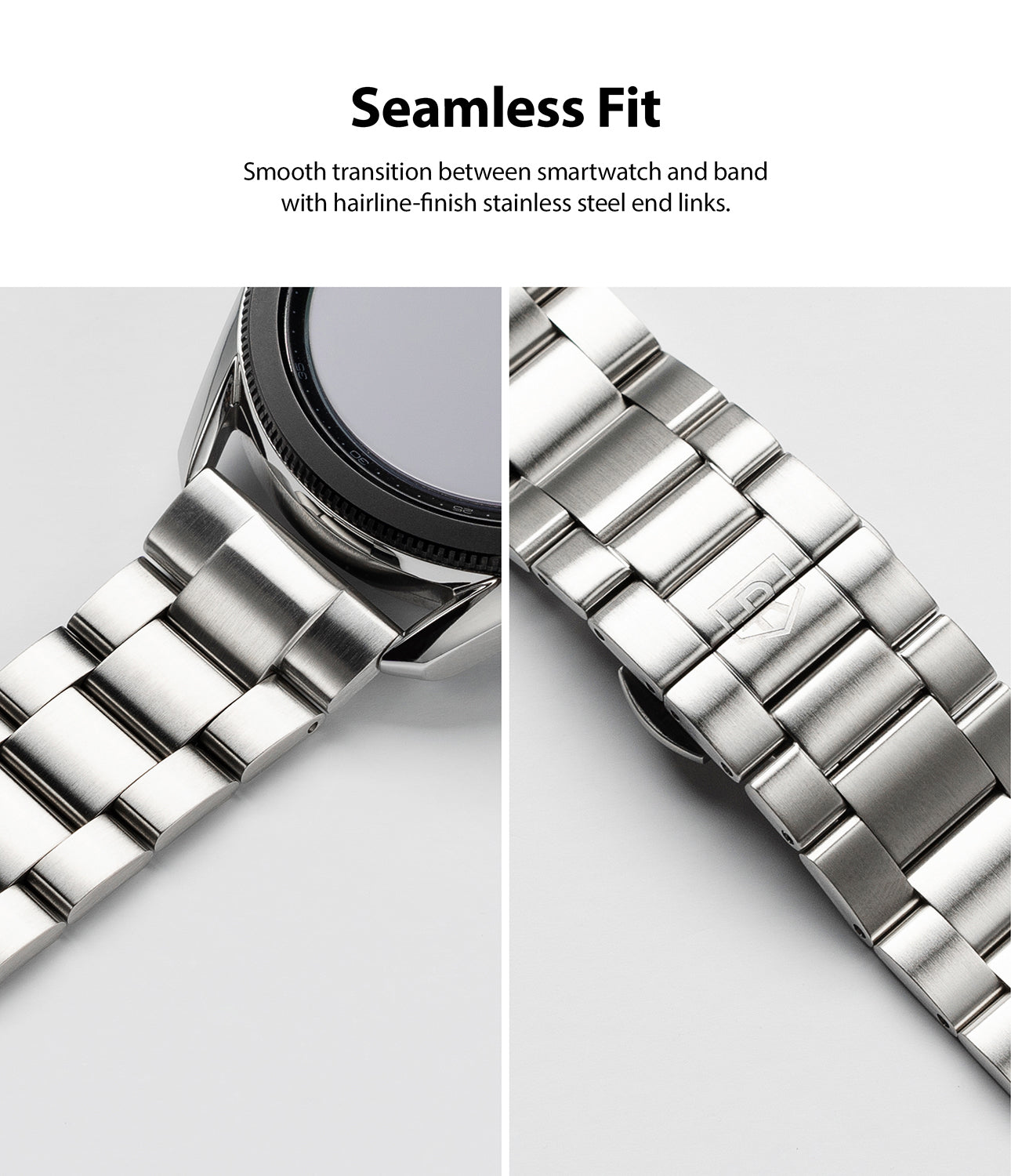smooth transition between smartwatch and band with hairline-finish stainless steel end links