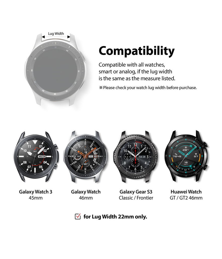 compatible with galaxy watch 3 45mm, galaxy watch 46mm, galaxy gear s3 classic & frontier, huawei watch gt / gt2 46mm