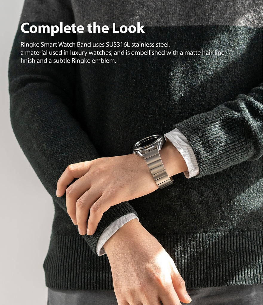 ringke smart watch band uses high quality stainless steel used in luxury watches, and is embellished with a matte hair-line finish and a subtle ringke emblem