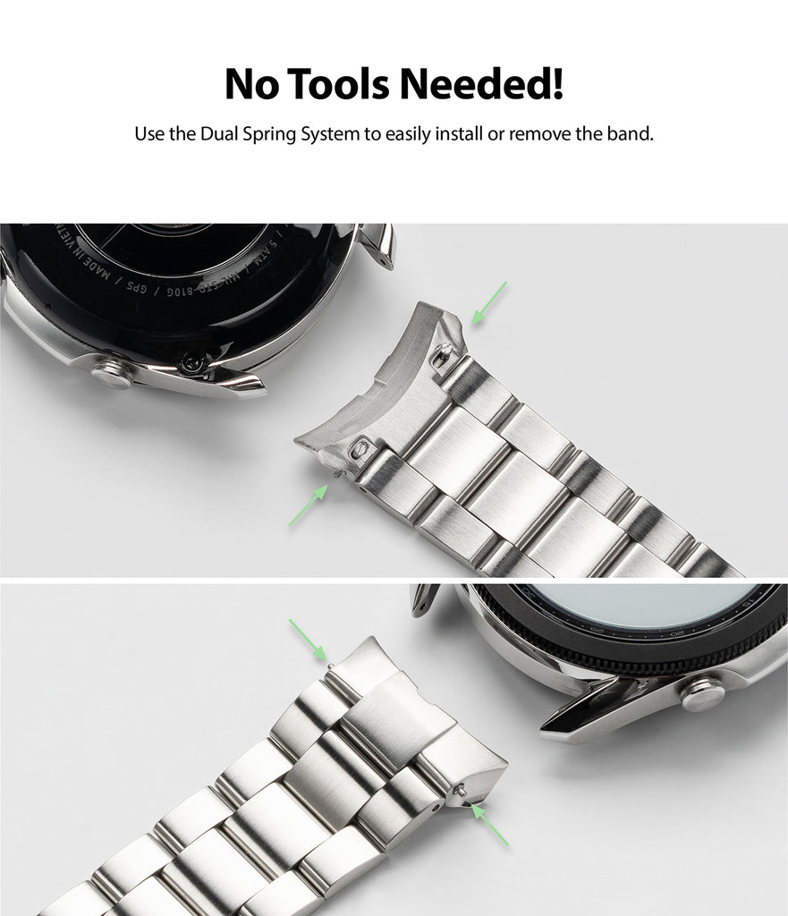 use the dual spring system to easily install and remove the band